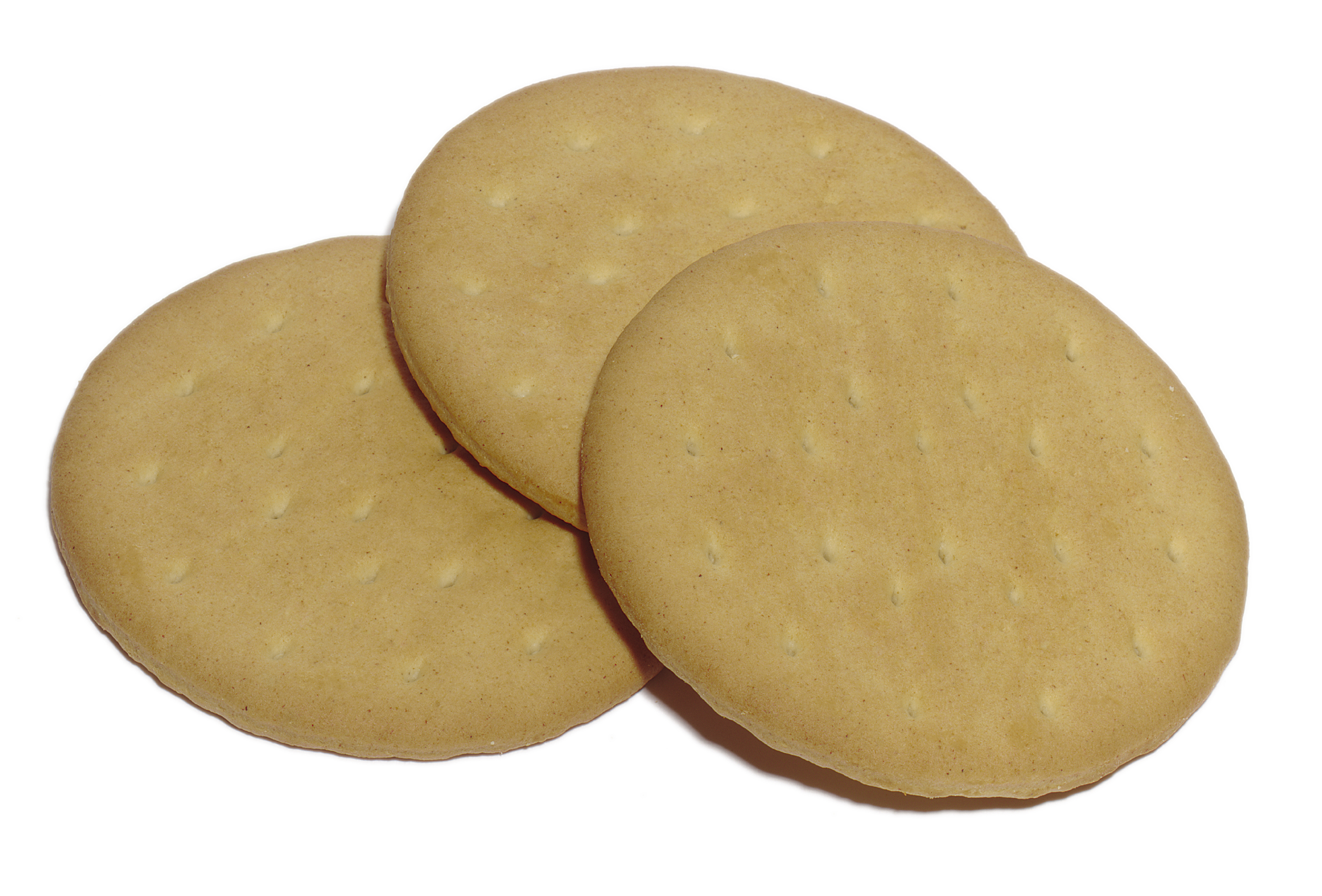 Three rich-tea biscuits on a white background.