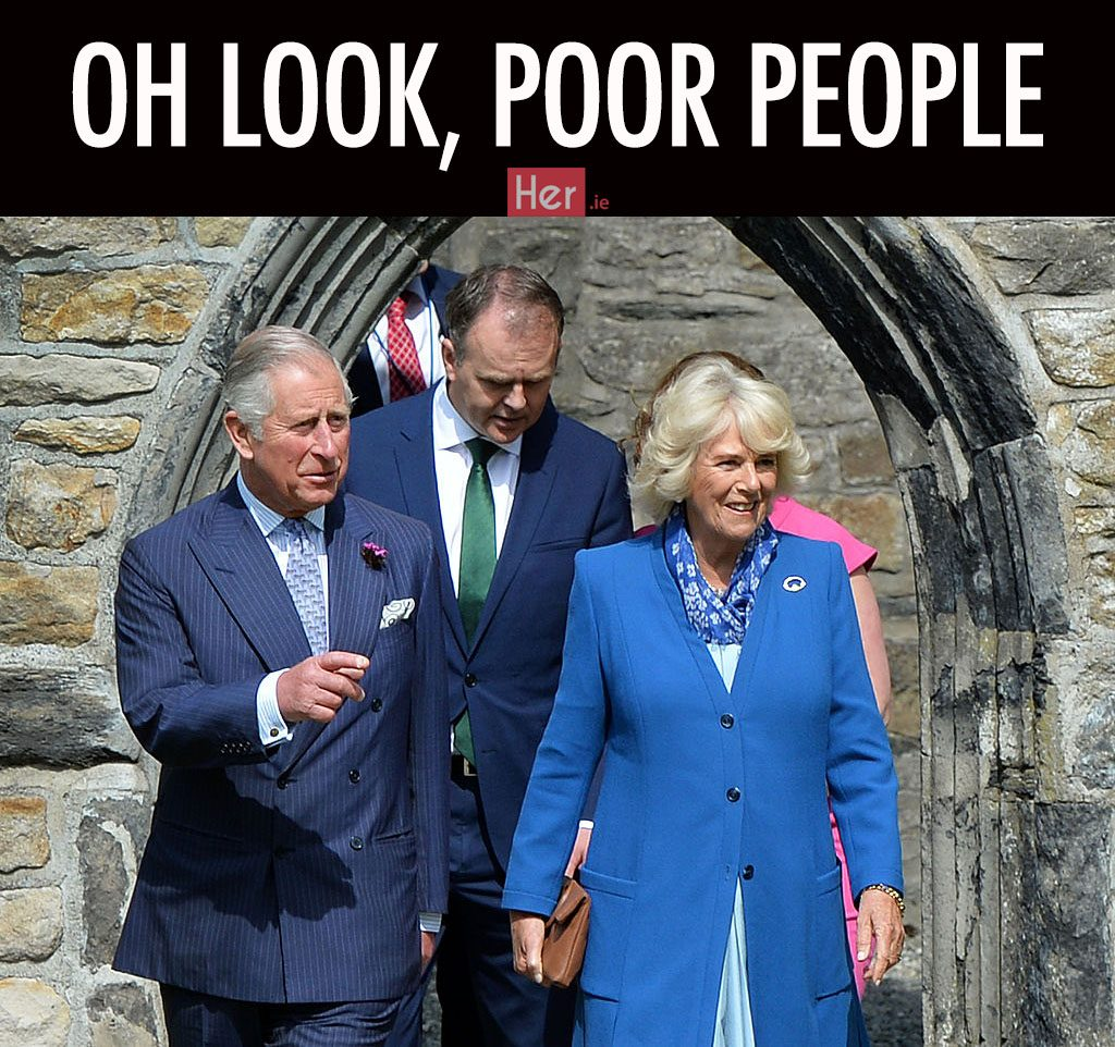 LETTERKENNY, IRELAND - MAY 25: (EDITORS NOTE: Retransmission of #534103572 with alternate crop.) Prince Charles, Prince of Wales and Camilla, Duchess of Cornwall visit Donegal Castle on May 25, 2016 in Letterkenny, Ireland. The royal couple are on a one day visit to Ireland having spent two days across the border in Northern Ireland. It is their first trip to Donegal. (Photo by Charles McQuillan/Getty Images)