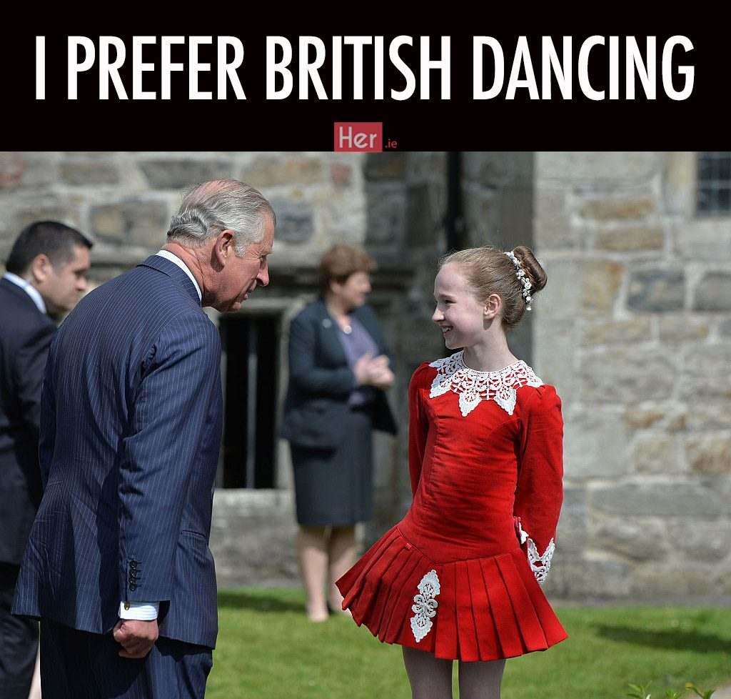 LETTERKENNY, IRELAND - MAY 25: Prince Charles, Prince of Wales chats with a young Irish dancr as they visit Donegal Castle on May 25, 2016 in Letterkenny, Ireland. The royal couple are on a one day visit to Ireland having spent two days across the border in Northern Ireland. It is their first trip to Donegal. (Photo by Charles McQuillan/Getty Images)