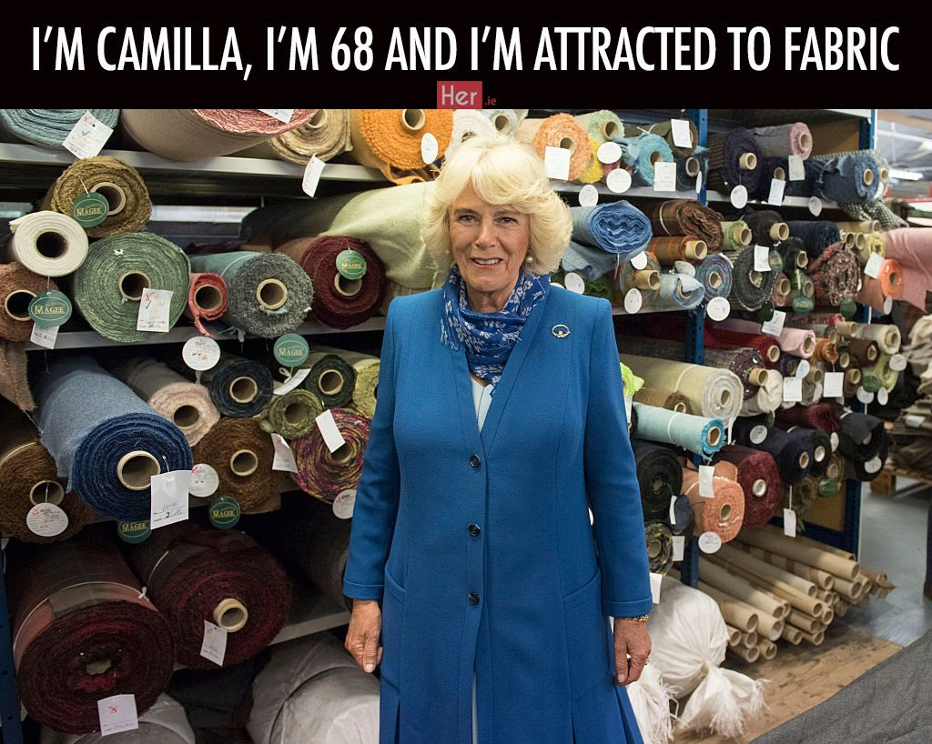 LETTERKENNY, IRELAND - MAY 25: Camilla, Duchess of Cornwall visits Magee of Donegal's Tweed Factory on May 25, 2016 in Letterkenny, Ireland. The royal couple are on a one day visit to Ireland having spent two days across the border in Northern Ireland. It is their first trip to Donegal. (Photo by Arthur Edwards - WPA Pool/Getty Images)