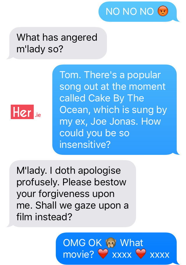 leaked texts between taylor swift and tom hiddleston