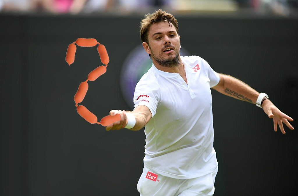 LONDON, ENGLAND - JUNE 28: Stan Wawrinka of Switzerland plays a forehand during the Men's Singles first round match against Taylor Fritz of The United States on day two of the Wimbledon Lawn Tennis Championships at the All England Lawn Tennis and Croquet Club on June 28, 2016 in London, England. (Photo by Shaun Botterill/Getty Images)