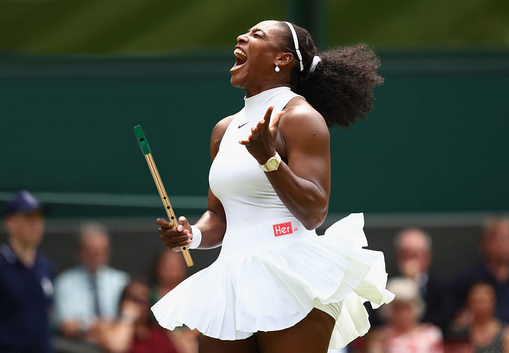 LONDON, ENGLAND - JUNE 28: Serena Williams of The United States reacts during the Ladies Singles first round match against Amra Sadikovic of Switzerland on day two of the Wimbledon Lawn Tennis Championships at the All England Lawn Tennis and Croquet Club on June 28, 2016 in London, England. (Photo by Clive Brunskill/Getty Images)