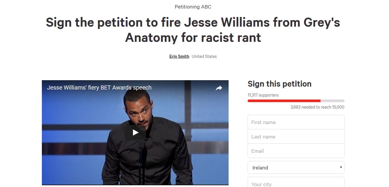 People are campaigning to have Jesse Williams fired from Grey\'s ...