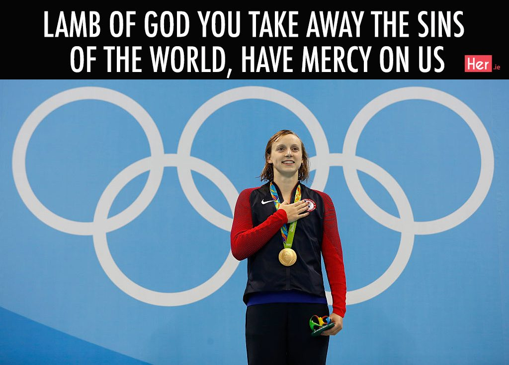 RIO DE JANEIRO, BRAZIL - AUGUST 07: Gold medalist Katie Ledecky of the United States poses on the podium during the medal ceremony for the Women's 400m Freestyle Final on Day 2 of the Rio 2016 Olympic Games at the Olympic Aquatics Stadium on August 7, 2016 in Rio de Janeiro, Brazil. (Photo by Clive Rose/Getty Images)