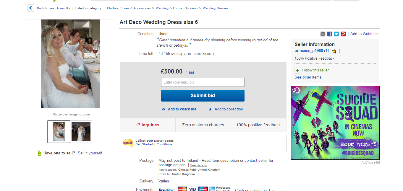 Ebay The Bride Has So Far Received 17 Inquiries About Her Dress No Doubt Nosy People Who Want To Know What Went Wrong In Burgeoning Marriage