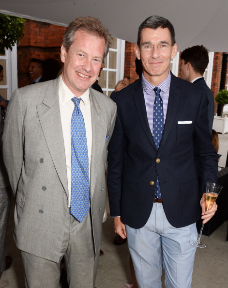 LONDON, ENGLAND - JUNE 19: Lord Ivar Mountbatten (L) and Chip Bergh, President and CEO of Levi Strauss & Co, attend the drinks reception hosted by Dockers, the San Francisco based apparel brand, at Kensington Palace on the eve of 'Dockers Flannels For Heroes' cricket match on June 19, 2014 in London, England. (Photo by David M. Benett/Getty Images for Dockers)