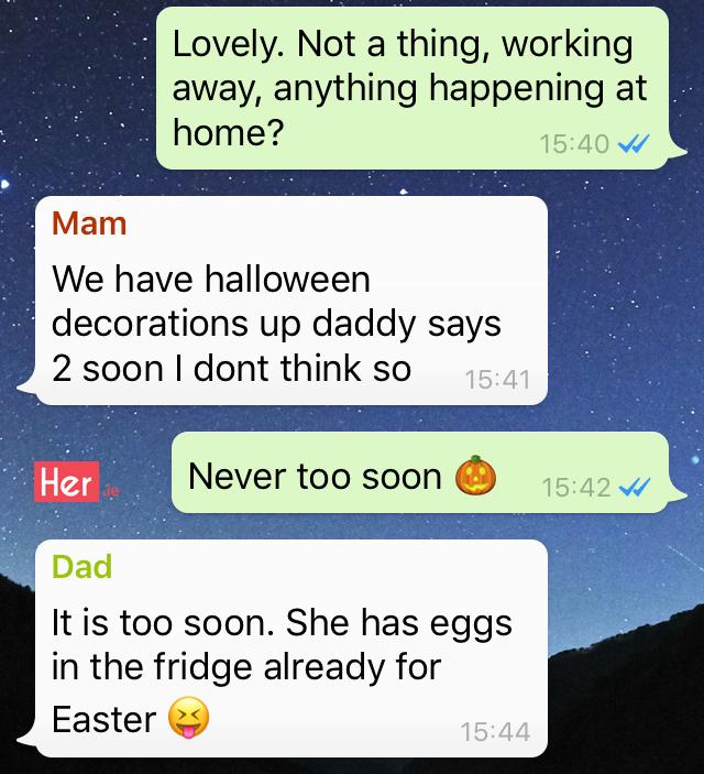 Irish Family WhatsApp Group - Halloween, Scary Clowns & Dad Jokes ...