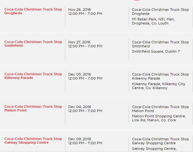The Coca Cola truck is in Ireland, here's when and where you can ...