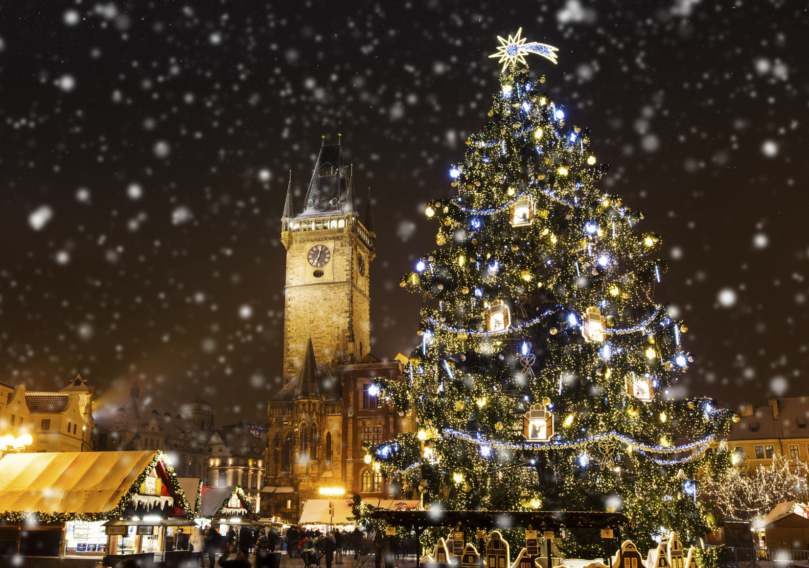 Christmas marketplace in Oldtown square, Prague, Czech Republic