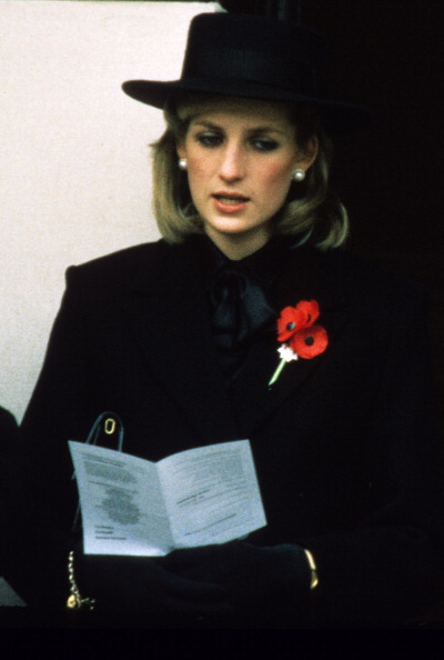 LONDON - NOVEMBER 01: Princess Diana, Princess of Wales and her sister-in-law Princess Anne attend the Remembrance Ceremony at the Cenotaph in London on November 01, 1984. (Photo by Anwar Hussein/Getty Images)