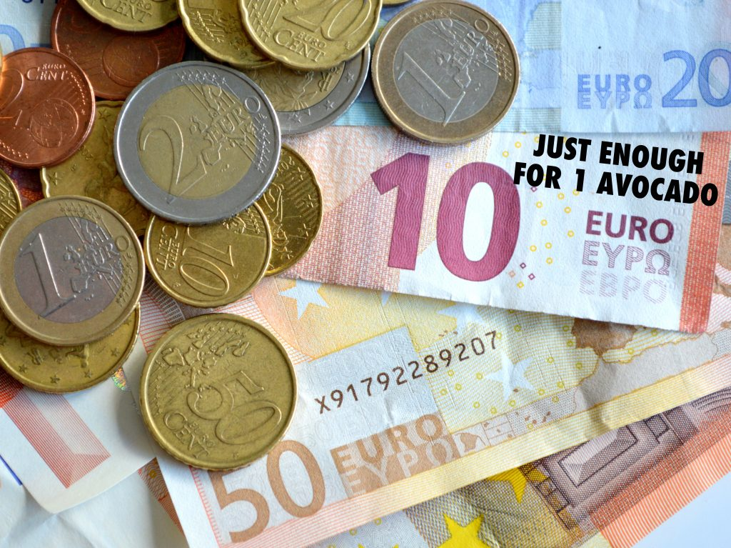 European Union Currency, a heap of banknotes and coins.