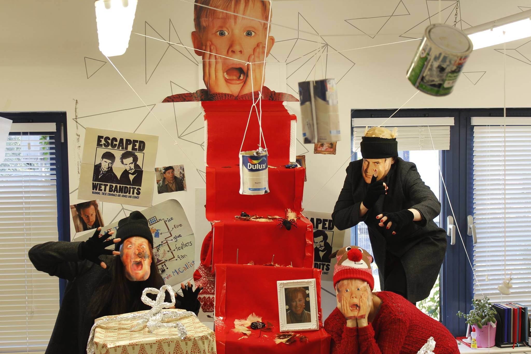 This dublin office s home alone themed christmas pods are for Home alone office decorations
