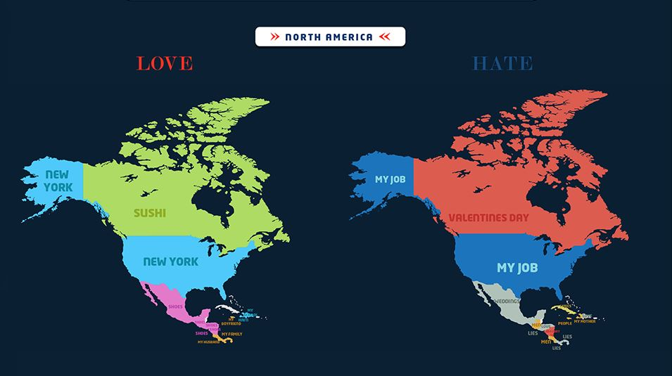 These are the most googled loves and hates in each country sushi but seem to really hate valentines day south america feels the same way about valentines day but they love their husbands and shoes the most gumiabroncs Images