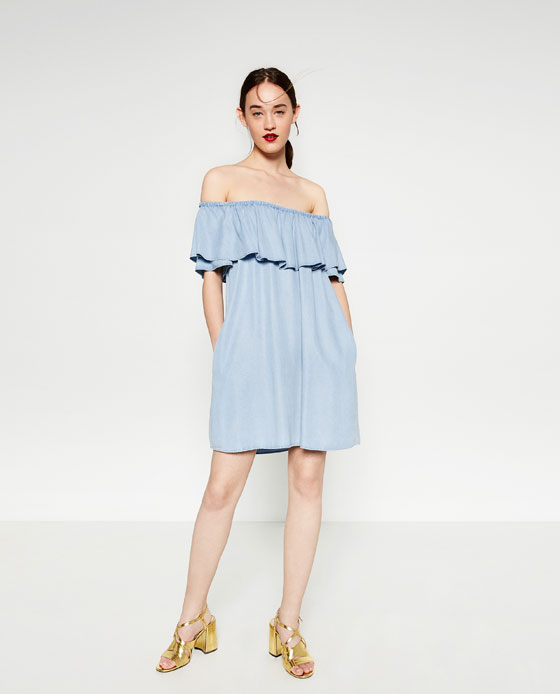 d2ba3a49 Cue the Zara dress, we all know it, a light denim blue style off the  shoulder dress with pockets.