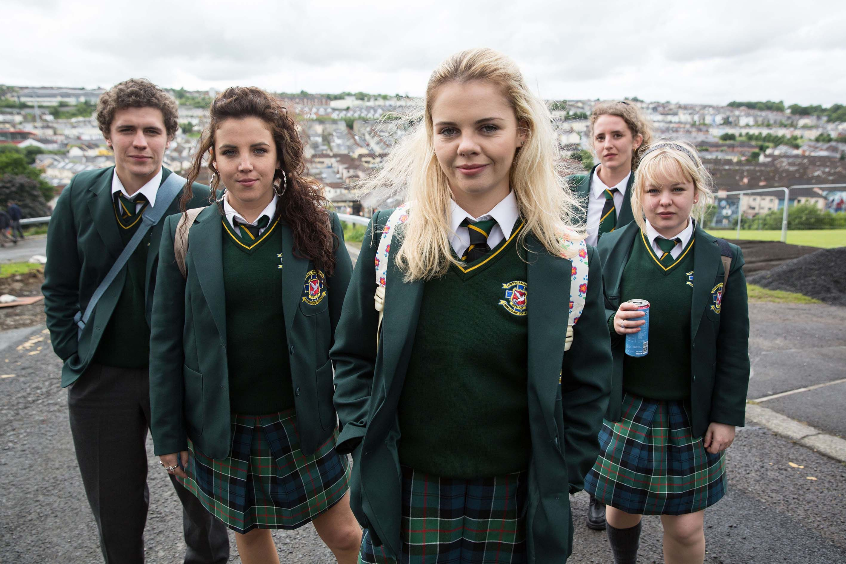 l-r: James Maguire (Dylan Llewellyn), Michelle Mallon (Jamie-Lee O'Donnell), Erin Quinn (Saoirse Jackson), Orla McCool (Louisa Harland), Clare Devlin (NIcola Coughlan),