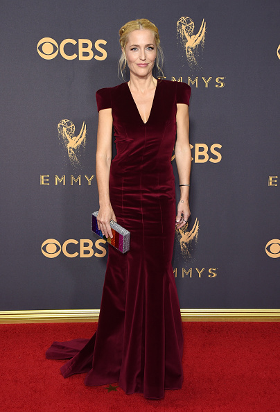 Gillian Anderson velvet dress Emmys