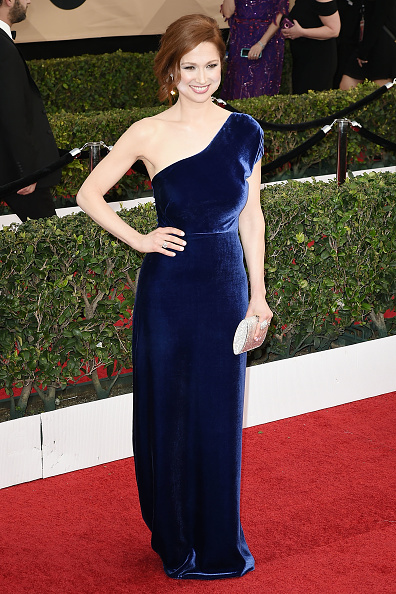 Ellie Kemper velvet dress SAG