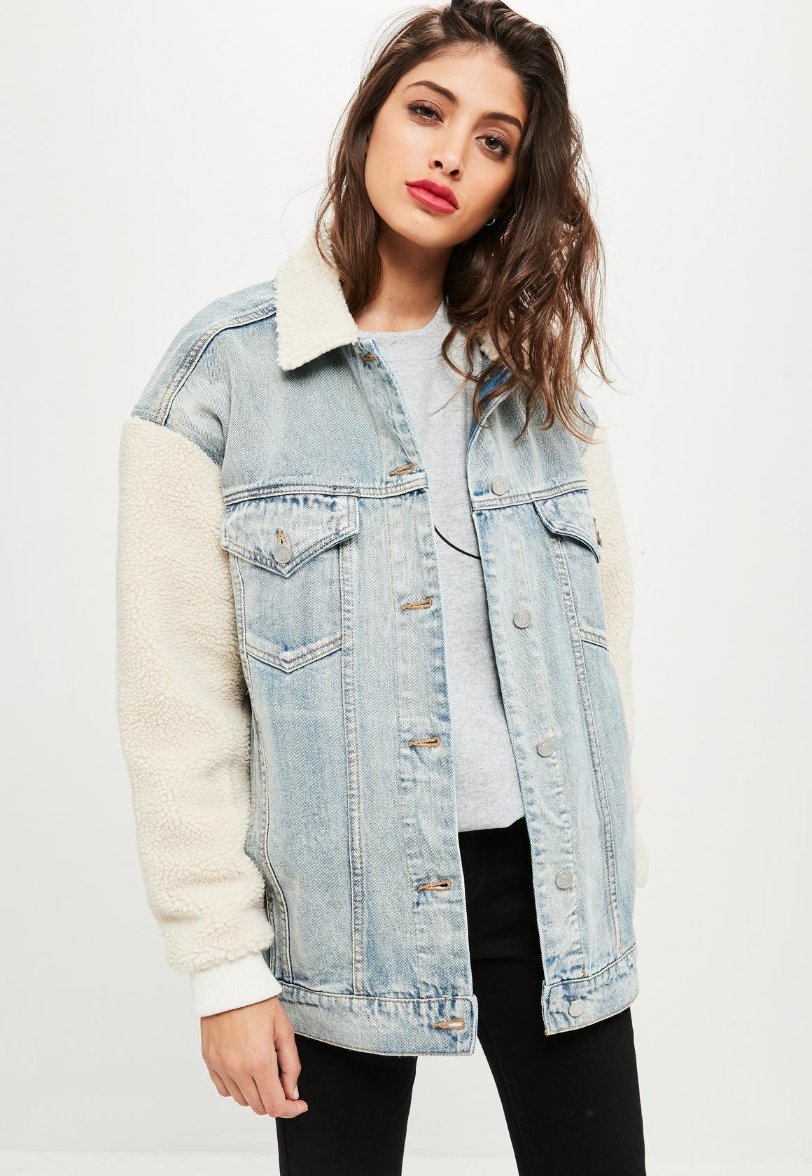 So This Is The 68 Missguided Jacket That We Keep Spotting Naomi Coat Oversized Denim With Teddy Sleeves And Collar Perfect For Both Season In Terms Of Practicality Why