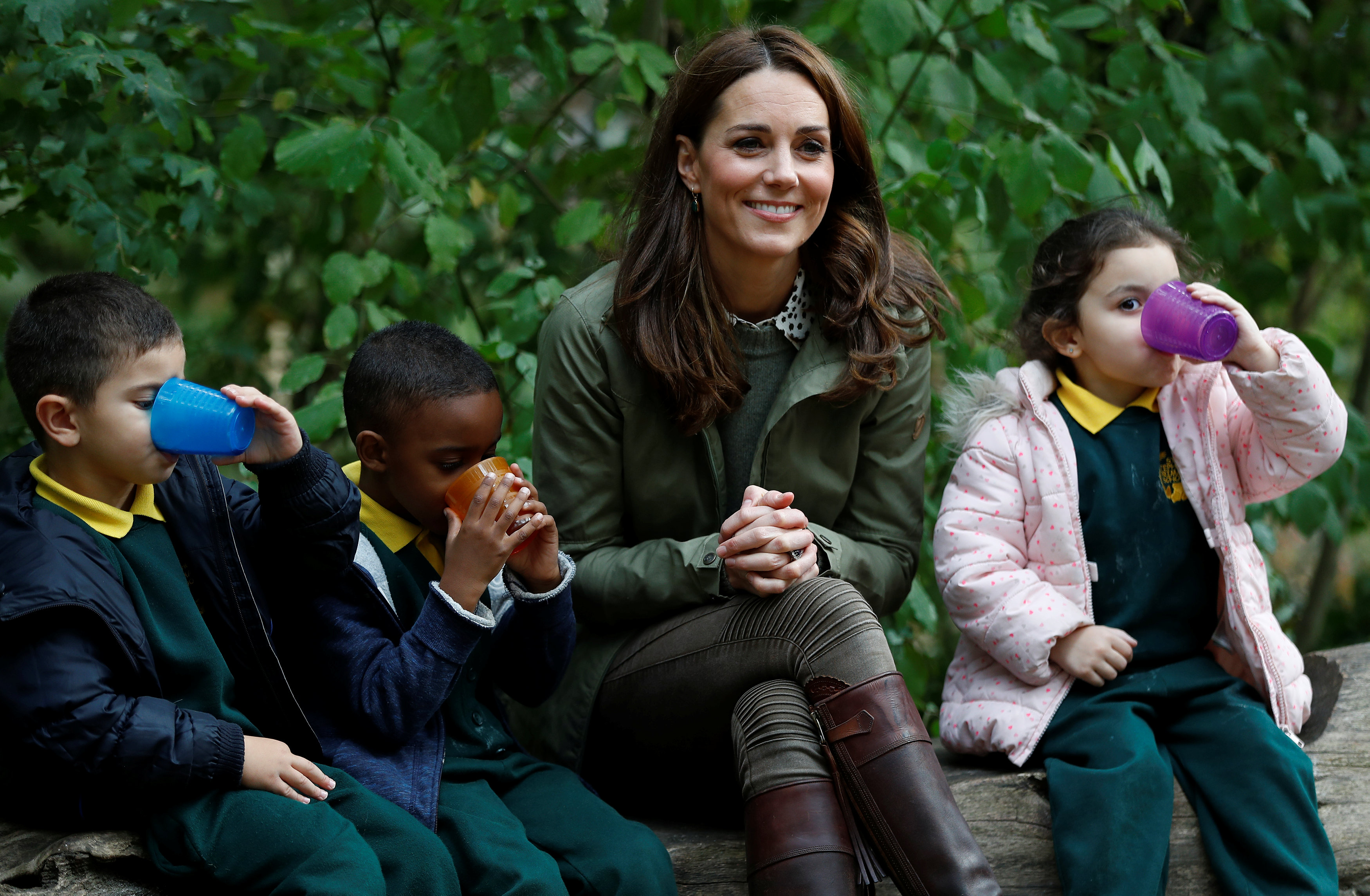 Britain's Duchess Kate makes first solo outing after birth of third child