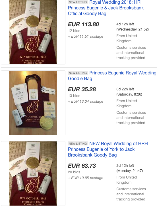 Goodie bags from Princess Eugenie's wedding are already