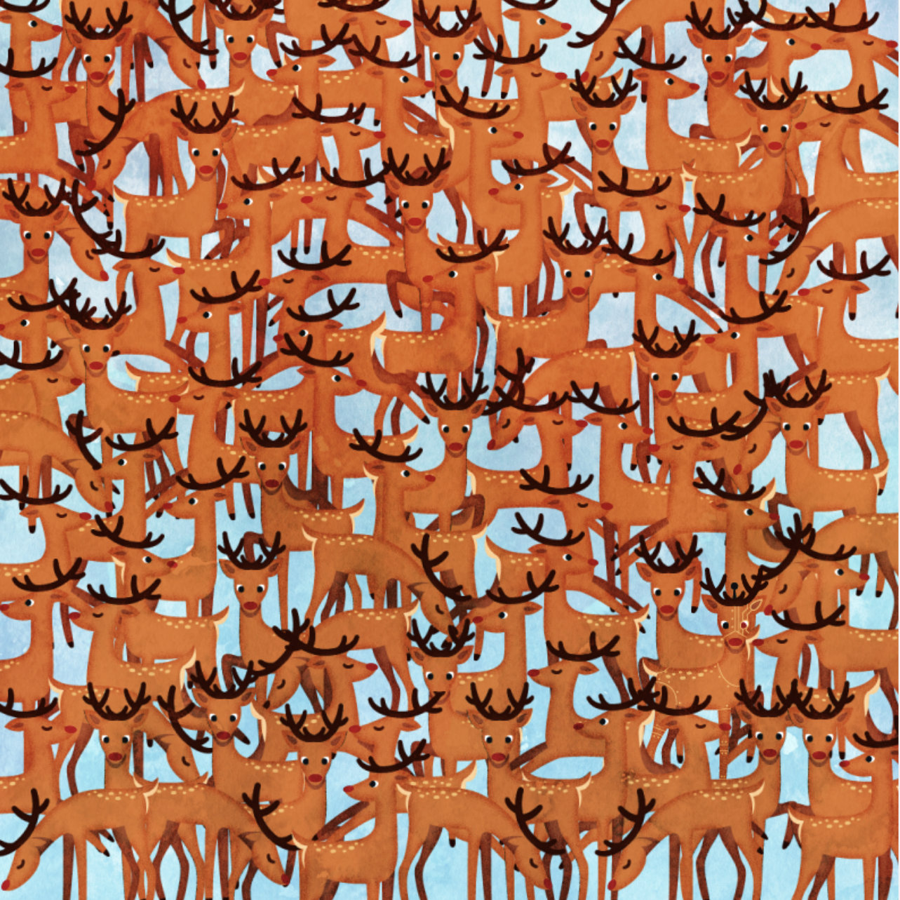 Christmas Brain Teasers.Can You Find The Rudolph Imposter Hidden Among The Reindeer