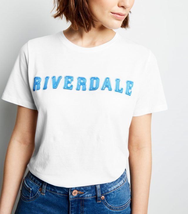 dcf21b8cf7 The final of the three Riverdale-inspired t-shirts features the bright blue  logo for the series on a white top.