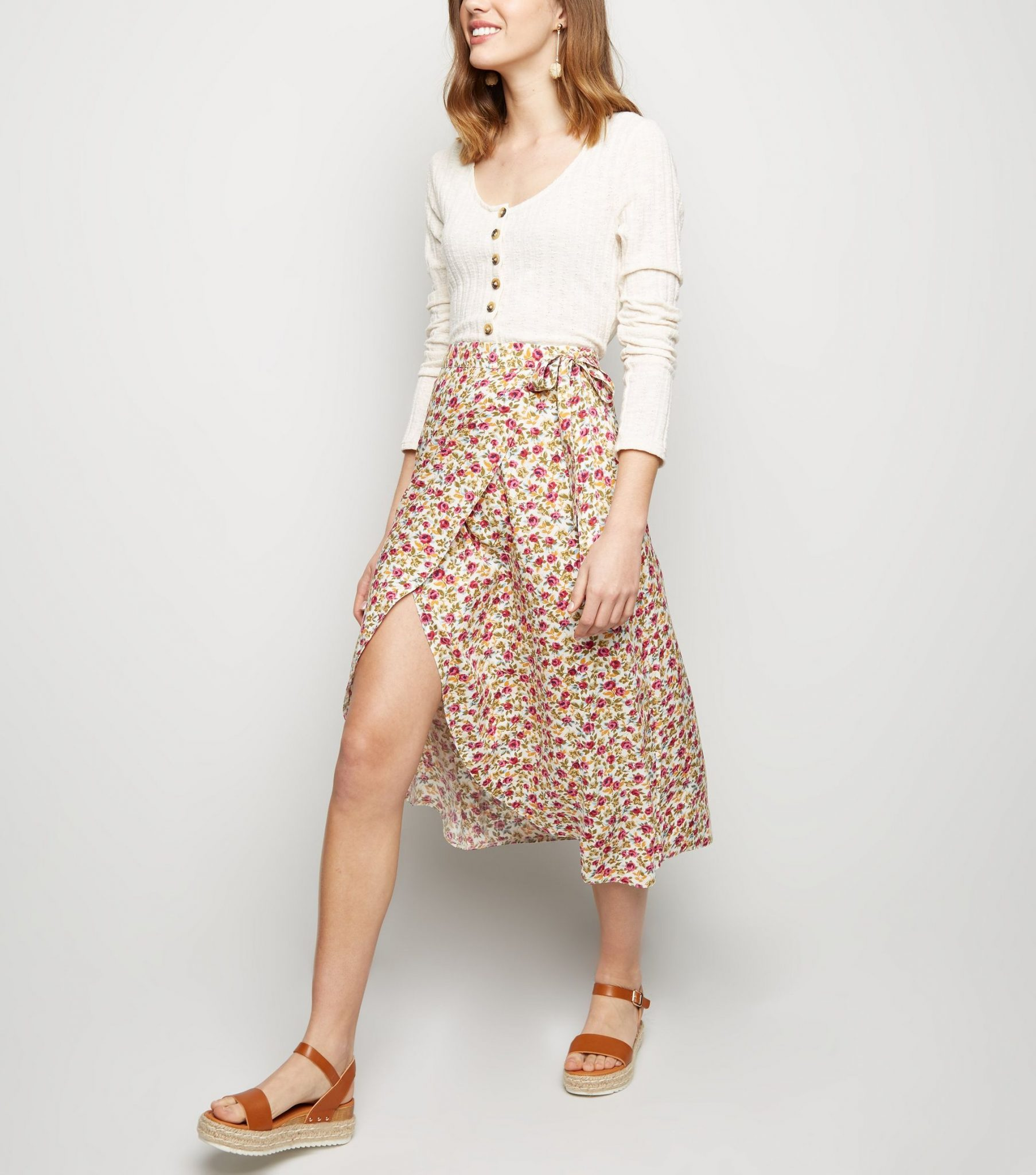 a47ca17e5505 The latest one to catch our eye is this floral-print wrap skirt from New  Look.