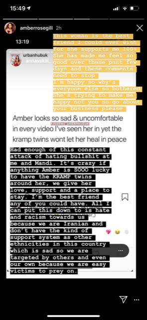 Amber Gill defends Anna Vakili in first social media posts