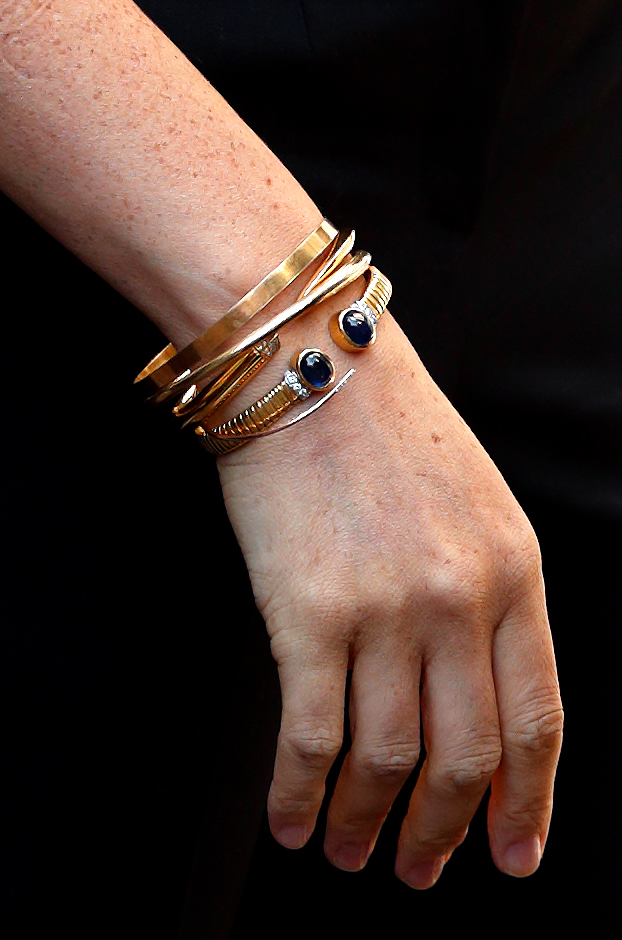 LONDON, UNITED KINGDOM - SEPTEMBER 12: (EMBARGOED FOR PUBLICATION IN UK NEWSPAPERS UNTIL 24 HOURS AFTER CREATE DATE AND TIME) Meghan, Duchess of Sussex (bracelet detail) launches the Smart Works capsule collection on September 12, 2019 in London, England. Created in September 2013 Smart Works exists to help unemployed women regain the confidence they need to succeed at job interviews and return to employment. (Photo by Max Mumby/Indigo/Getty Images)